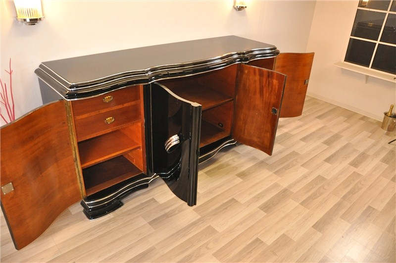 xxl art deco sideboard from belgium in high gloss black ebay. Black Bedroom Furniture Sets. Home Design Ideas