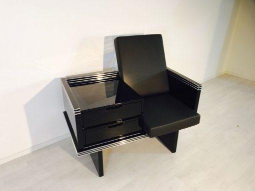 Art Deco Sessel, Frankreich, unrestauriertes Einzelstück, Chromlinien, Individualisierbar
