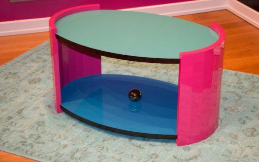Art Deco Beistelltisch, außergewöhnliche Farben, streng limitiert, Himmelblau, Rosa, goldene Chromkugel, Margarethe Schreinemakers