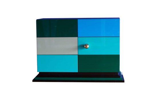 Art Deco Kommode, einzigartiges Design, höchste Qualität, streng limitiert, Hochglanzlack, Gruen,Blau, Schwarz, Margarethe Schreinemakers