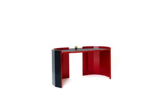 Art Deco Schreibtisch, Hochglanzrot, streng limitiert, hochwertiger Klavierlack, wundervolle Farbe, Margarethe Schreinemakers