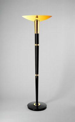 Art Deco Stehleuchte Panther, Chromdetails, Messing, wundervoller Lampenschirm, elegante indirekte Beleuchtung