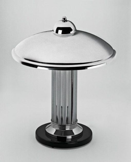 Art Deco Tischleuchte Limoges, fein gearbeitete Glasstäbe, Chromdetails, einzigartiges Design