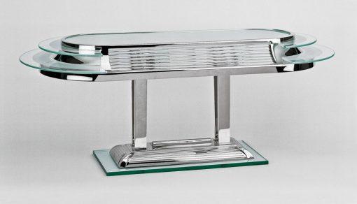 Art Deco Tischlampe Nizza, elegantes Chromgestell, Handgefertigt, feine Glasscheiben