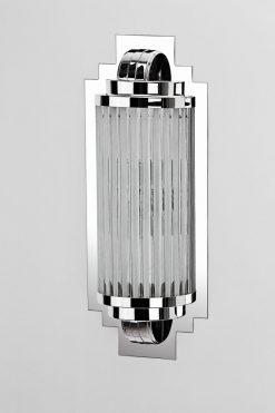 luxuriöse Art Deco Wandlampe Cannes, Handgefertigt, Chromelemente und Glas, edeles Design