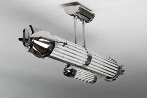 Art Deco Deckenlampe Zeppelin, exklusives Design, wundervolle Form, Chromgestell
