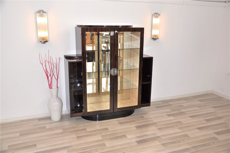 seltene art deco makassar vitrine original antike m bel. Black Bedroom Furniture Sets. Home Design Ideas