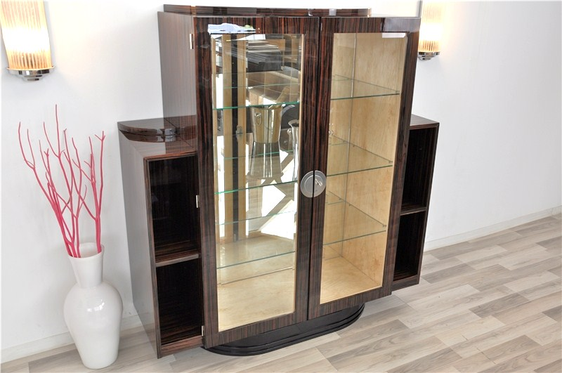 seltene art deco makassar vitrine ebay. Black Bedroom Furniture Sets. Home Design Ideas