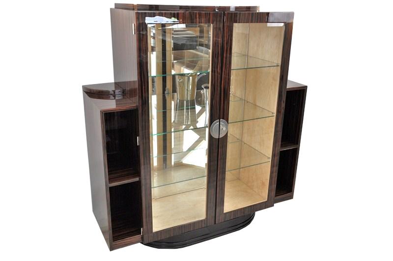 seltene art deco makassar vitrine original antike m bel. Black Bedroom Furniture Sets. Home Design Ideas