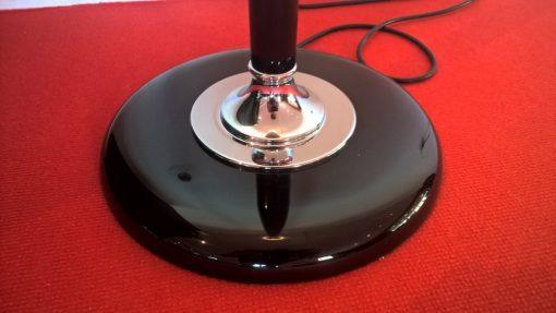 Art Deco Mazdalampe, Stehleuchte, Original Reproduktion, Hochglanzschwarz, zeitloses Design, Chromapplikationen