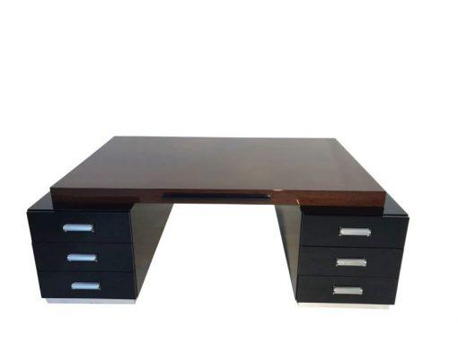 Bauhaus XXL Schreibtisch, Partnerdesk, Zebranoholz, Wengeholz, handpoliert, traumhafte Form
