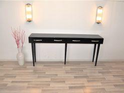 Art Deco Konsolentisch, 5 filigrane Spitzbeine, hochglanzschwarze Lackierung, Lacobellplatte, 2 große Schublade
