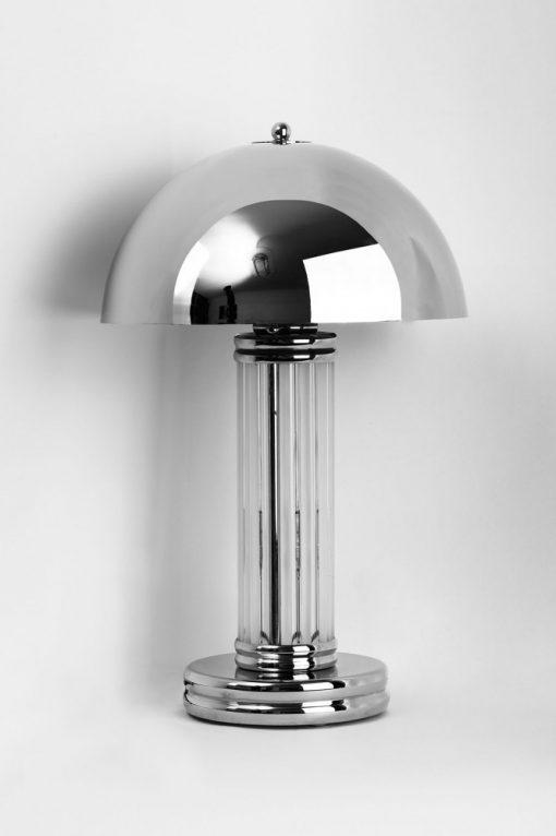 Art Deco Tischlampe Dom, verchromter Lampenschirm, feine Glasstäbe, Chromfuß, wunderschönes Design