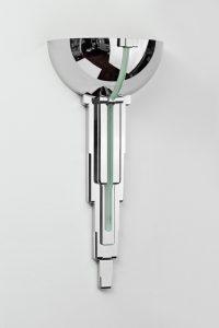 Art Deco Wandlampe France, einzigartiges Design, toller Lampenschirm, Chrom