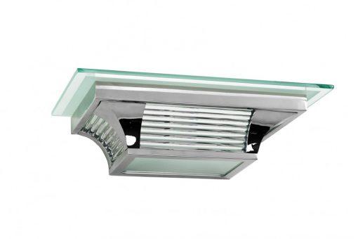 Art Deco Wandlampe, kompaktes Design, Chromelemente, filigrane Glasdetails