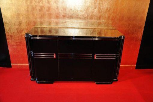 Art Deco Sideboard, Wimbledon, englischer Türschwung, schwarze Hochglanzoberfläche, Leder-Ausziehplatte, 2 Einlegeboeden