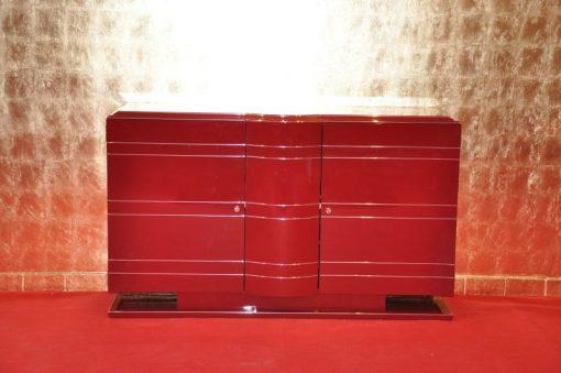 Art Deco Kommode, Chromeliner, einzigartige lackierung in hochglanz Rot, Chromlinien, Innenleben in matt Schwarz