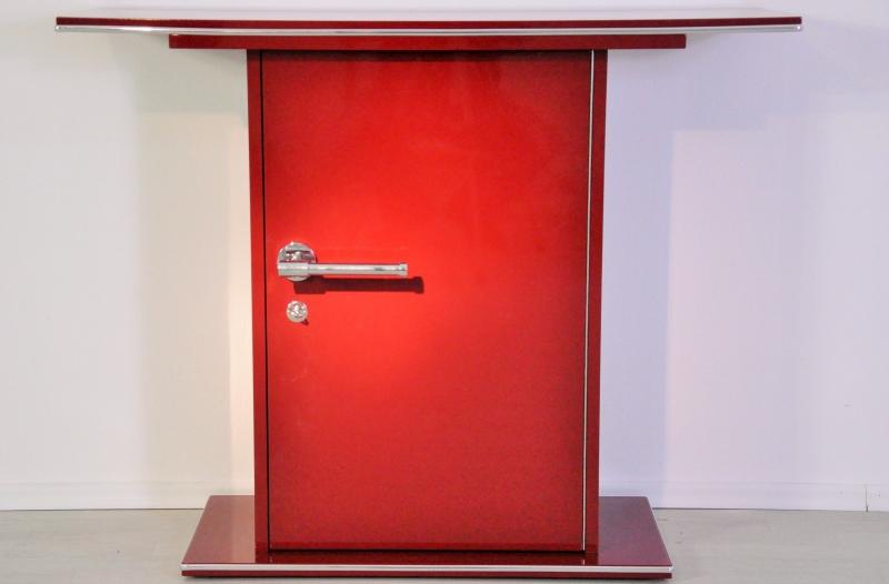 kleine art deco konsole in einem wundervollem rot original antike m bel. Black Bedroom Furniture Sets. Home Design Ideas