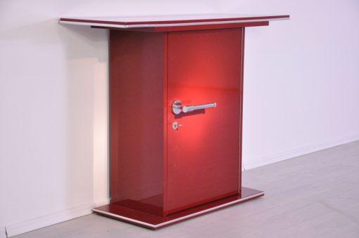 Art Deco Konsole, Hochglanzlackierung in Rot, Chromgriff, schönes Design, Chromlinien, einzigartige Lack, Moebel, Schrank, poliert