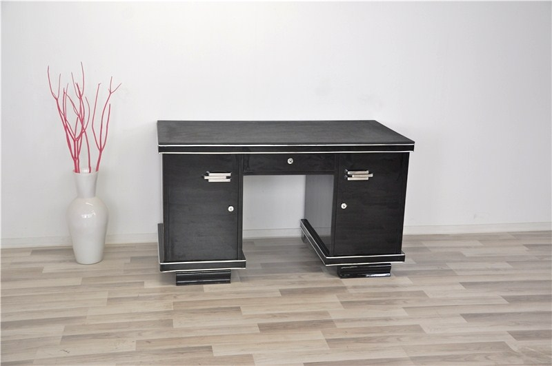 belge couleur noire art d co bureau avec plaque en cuir ebay. Black Bedroom Furniture Sets. Home Design Ideas