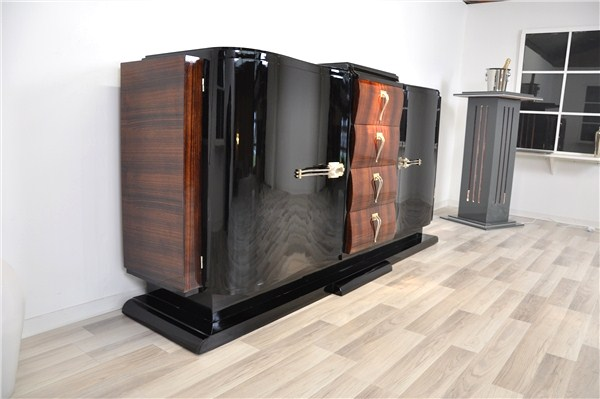 gro artiges art deco sideboard aus frankreich ebay. Black Bedroom Furniture Sets. Home Design Ideas