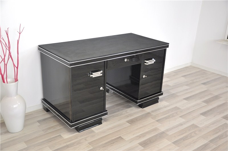 belgischer schwarzer art deco schreibtisch mit lederplatte. Black Bedroom Furniture Sets. Home Design Ideas
