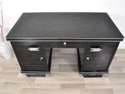 belgischer Art Deco Schreibtisch, wundervolle Lederplatte, Chromgriffe, Klavierlack, Handpoliert