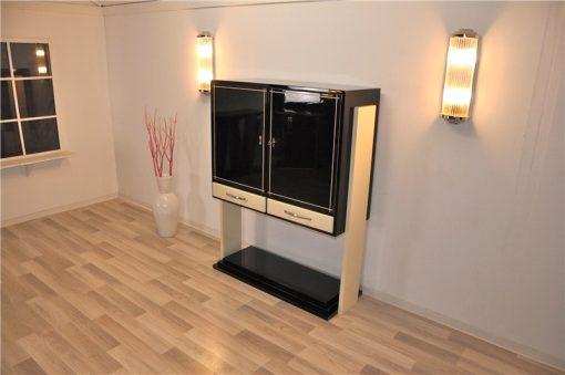 Art Deco Highboard, 2-farbige Lackierung, Elfenbein / hochglanz Schwarz, einzigartiges Design, tolles Innenleben