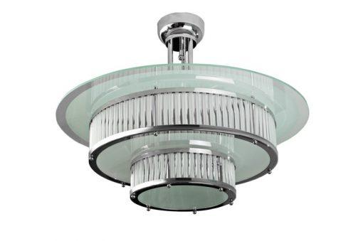 Art Deco Lampe der Extraklasse, Eyecatcher in jedem Raum, tolle Glas- und Chromapplikationen