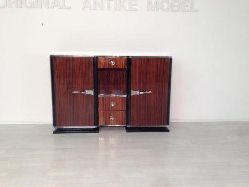 Art Deco Palisander Sidboard, wundervolles Furnierbild, große Chrombeschläge, Klavierlack, Frankreich 1930