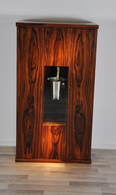 Art Deco Barschrank, Palisanderholz, wundervolle Maserung, viel Stauraum, edeles Design, absoluter Hingucker