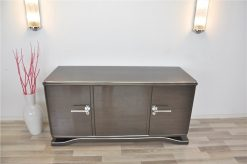 Lowboard Sideboard in Metallic Grau, Hochglanzlackierung, einzigartiges Design, tolle Formensprache, Chromgriffe