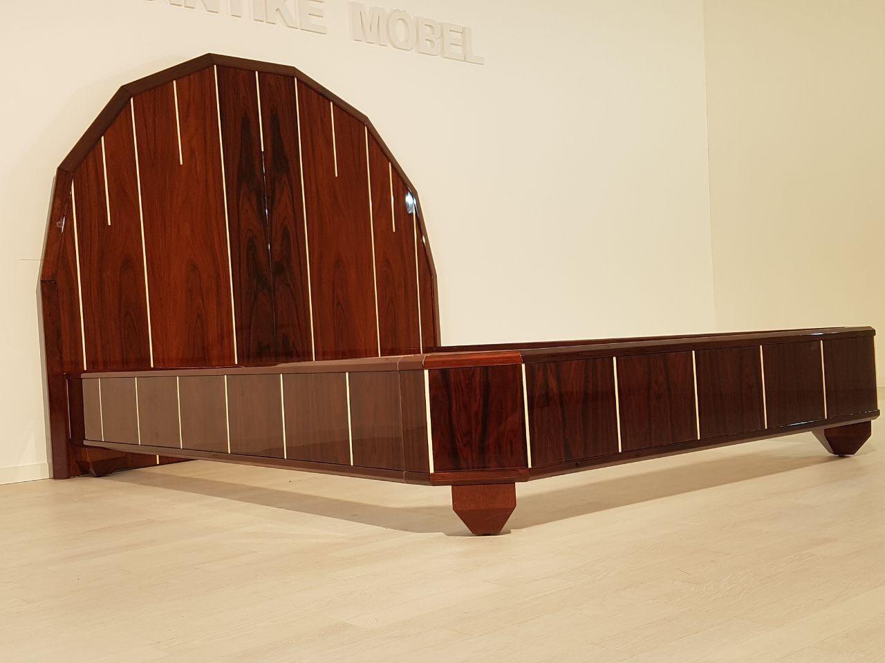 art deco bett aus palisanderholz original antike m bel. Black Bedroom Furniture Sets. Home Design Ideas