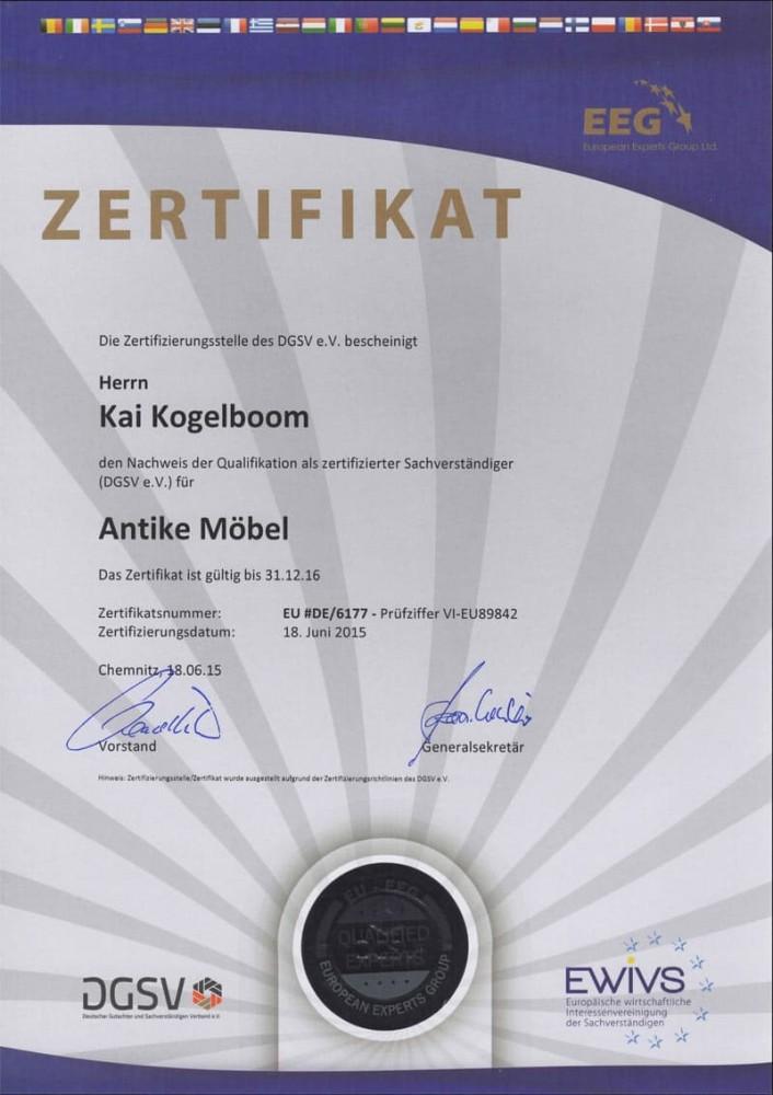 Zertifikat zum Sachverständigen für Antike Möbel (DGSV e.V.)