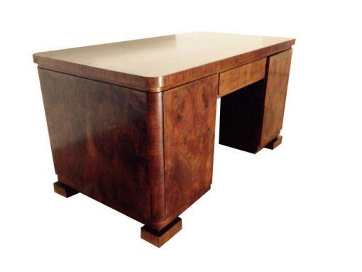 Original Belgischer Schreibtisch von 1920, große Platte aus Palisanderholz, schönes Furnierbild, einzigartige Füße