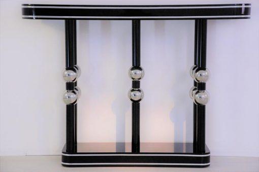 Art Deco Konsole, Chromkugeln, Klavierlack, tolle Formensprache, Schmuckstück, edel, hochglänzend, Ablage, Eingangsbereich