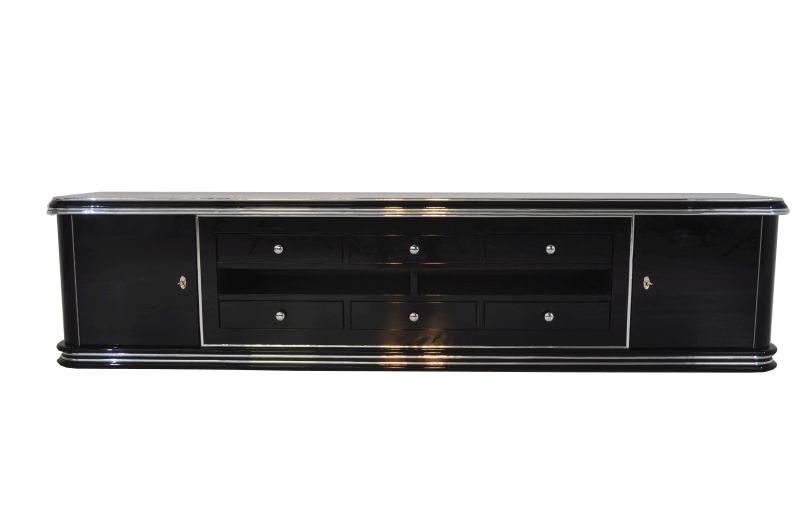 Art Deco Lowboard, 2,5m Breit - Mit 2 Türen und 6 Schubladen, Chromgriffe und Original Schlüssel, Hochglanz Schwarz, Handpoliert
