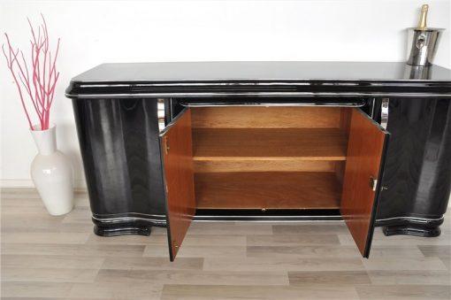 Art Deco Lowboard, Sideboard, großer Auszug, tolle Füße, hochglanzschwarzer Klavierlack, gechwungene Türen