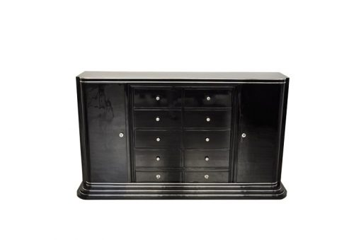 Art Deco Highboard, Schubladen-Sideboard, hochglanzschwarzer Klavierlack, 10 schubladen 1 Tür, viel Stauraum, rotes Innenleben
