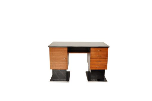 Bauhaus Schreibtisch, zweifarbiges Design, klare Formensprache, Hochglanzlack, Messingschloesser