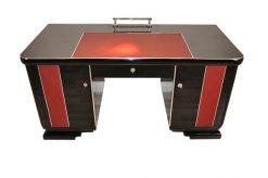 Art Deco Schreibtisch, rote Lederapplikationen, Chromdetails, Original Schlösser, Belgien 1925