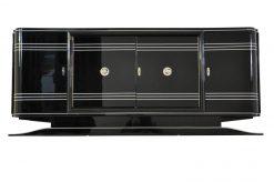 Art Deco Sideboard, Chromliner, rotes Barfach, hochglanz Schwarz, französisches Fußgestell, Design, buffet, wohnzimmer, Bar
