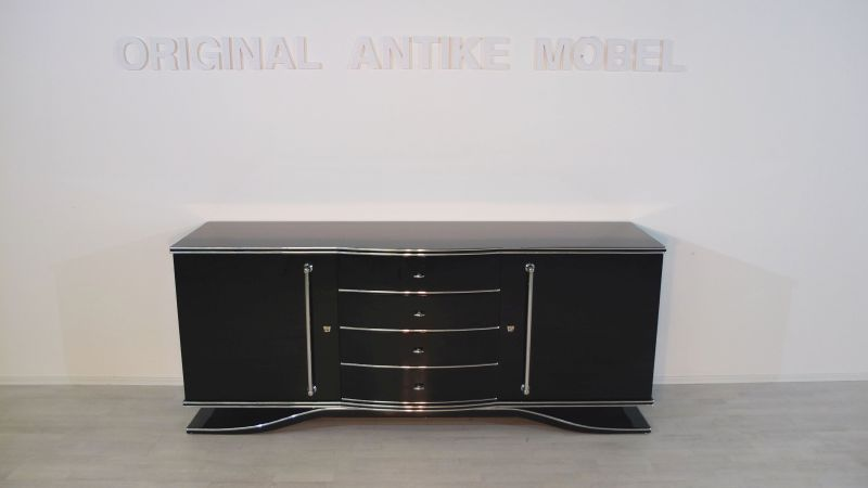 art deco xxl sideboard mit gro en chromgriffen original. Black Bedroom Furniture Sets. Home Design Ideas