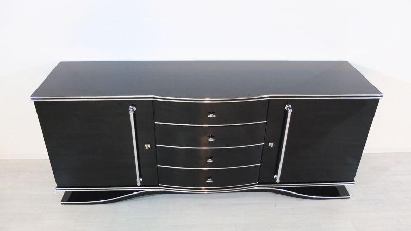 Art Deco Sideboard, Extra Groß, große Chromgriffe, französischer Fuß, feine Details, viel Stauraum