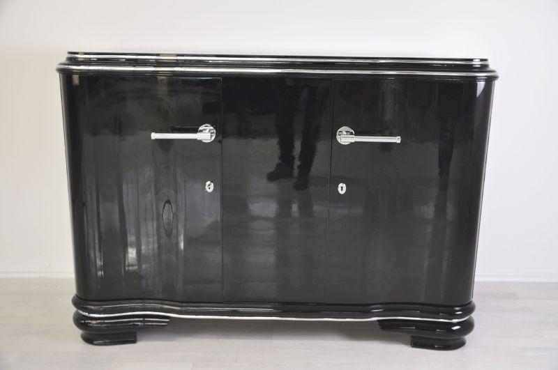 Französisches Art Deco Sideboard, einzigartige Form, hochglanzschwarzer Klavierlack, 1938, geschwungene Flügeltüren