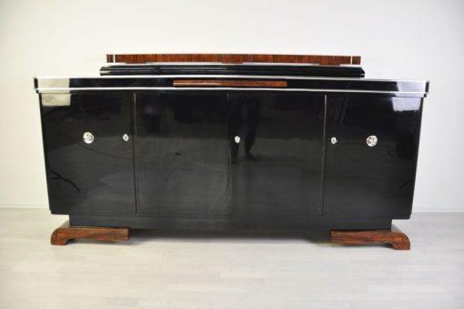 Luxuriöses Art Deco Sideboard, Wurzelholz Details, Ausziehplatte aus Mamor, Hochglanzlack, französische Füße