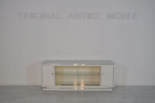 Art Deco Lowboard, Sideboard, Hochglanzweiß, Einlegeboden aus Glas, Chromleisten, Schiebetüren, tolles Design
