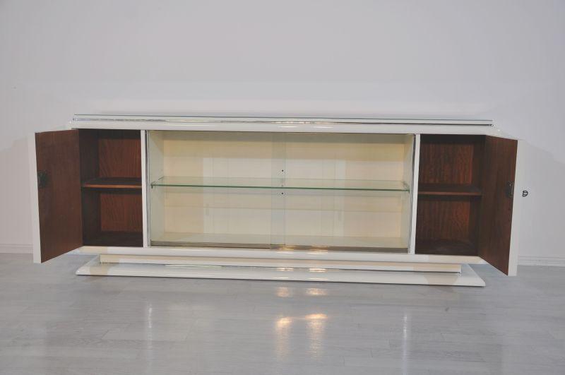 Art Deco Lowboard in Hochglanzweiß - Original Antike Möbel