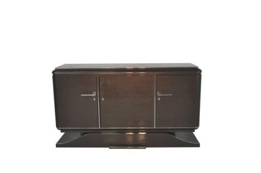 XXL Art Deco Sideboard, Metallic-Grau, geschwungener Fuß, feine Chromdetails, Mahagoni Innenleben, viel Stauraum, eyecatcher