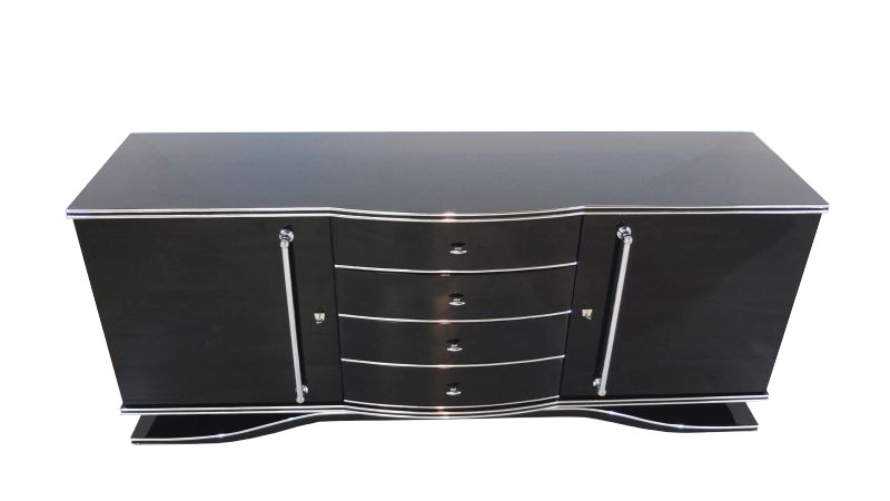 art deco xxl sideboard mit gro en chromgriffen ebay. Black Bedroom Furniture Sets. Home Design Ideas